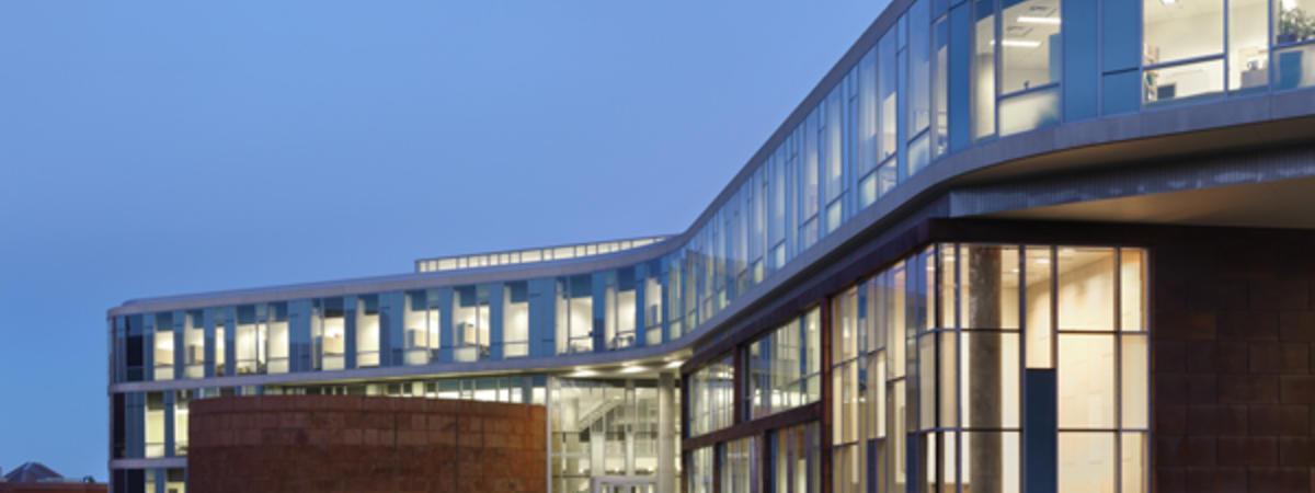 LSBE building at dusk