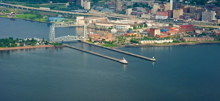 Aerial of Duluth lift bridge