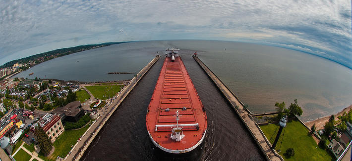 Ore carrier entering the Duluth harbor