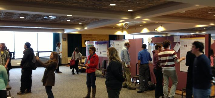 People observing student presentations at the UMD Showcase