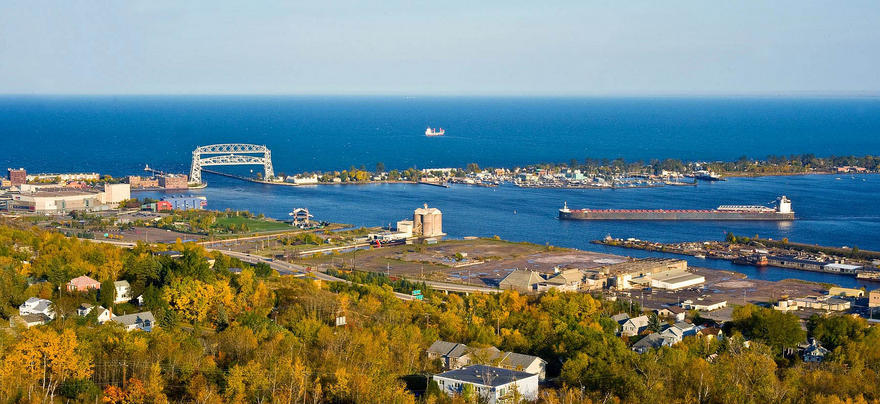 Duluth lift bridge, Park Point, and Lake Superior from hill