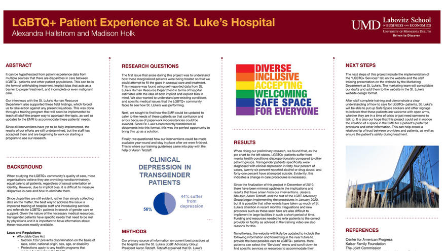 Poster of LGBTQ experience at St. Luke's