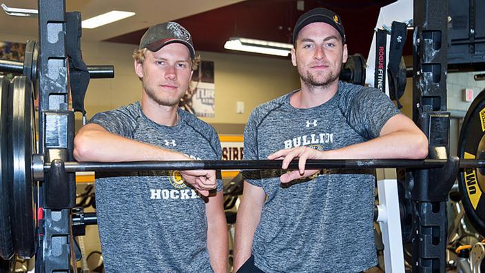 Men's Hockey players Dominic Toninato and Carson Soucy