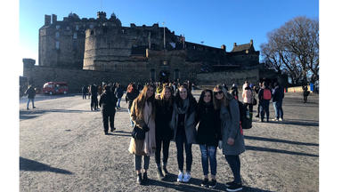 Courtney Cornelius (right) at Edinburgh Castle with study abroad friends Lauren Graziano from Monument, Colo., Mara Mann from Thousand Oaks, Calif., Claire Martin from Seattle, Wash., and Kamille Ditommaso from Decatur, Ill.