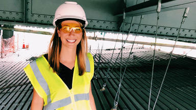 Molly Arbuckle in construction clothing