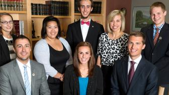 Hannah Keil (center, in blue shirt) with the other 2013/2014 student representatives to the Board of Regents Committee.