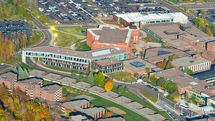 Aerial view of campus and lSBE