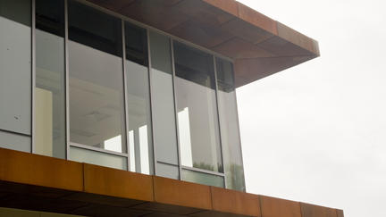 A view of the beams on the outside of the LSBE dean's office.