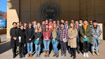 Students who attended a tour of the Minneapolis Federal Reserve Bank