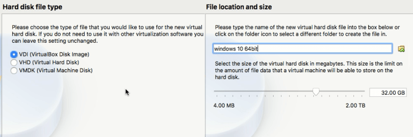 Type and hard disk size