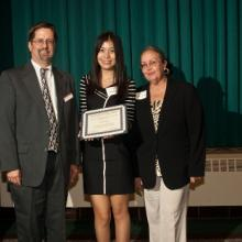 Department of Accounting Scholarship - Al Roline, Accounting Department Chair, Chen Yang, and Dean Amy B. Hietapelto
