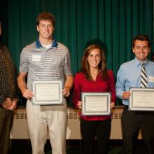 LSBE Honors Scholarships - Tracey Bolen, Advising and Academic Services Director, Kelsey Herzog, Hannah Keil, Jacob Marsh, and Dean Amy B. Hietapelto