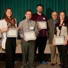 Allan L. Apter Scholarships - Alex Hassett, Alyssa Gazda, Kyle Dickinson, Bryan Sunnafrank, Allan Apter, Marisa Yliniemi, and Dean Amy B. Hietapelto