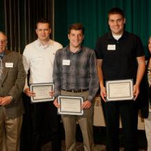 Allan L. Apter Financial Markets Program Scholarships - Allan Apter, Nathan Weiland, Adam Swinney, Zack Pochucha, and Dean Amy B. Hietapelto