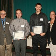 Allan L. Apter Financial Planning Scholarships - Allan Apter, Kyle Dickinson, Thomas Laverty, and Dean Amy B. Hietapelto