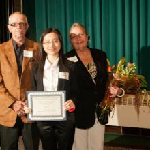 Richard and Nancy Braun Entrepreneurship Scholarship - Richard Braun, Qing Lin, and Dean Amy B. Hietapelto