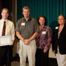 Carlson/Amys Scholarship - Jace Romano, Jeff and Berta Carlson, and Dean Amy B. Hietapelto