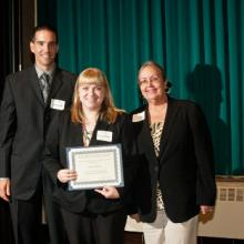 Copeland Buhl & Company Scholarship - Andy Graf, Nicole Williams, and Dean Amy B. Hietapelto