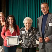 Dr. John A. Dettmann Scholarship - Dean Amy B. Hietapelto, Leah Gross, Luella Dettman, and her son Don Dettman