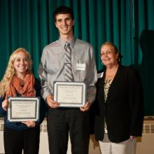 Gerald & Janet Engberg Accounting Scholarships - Julia Kreibich,  Kyle Voelker, and Dean Amy B. Hietapelto