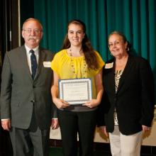 1st ST. Gang Memorial Scholarship - John Brostom- class of '70, Katie Gilderman, and Dean Amy B. Hietapelto