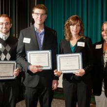 David and Louise Gartzke Scholarship - Luke Merrill, Tyler Boese, Barbara Lee, and Dean Amy B. Hietapelto