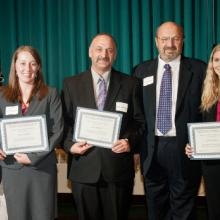Charles E. House Scholarships - Dean Amy B. Hietapelto, Jessica Amundson, Dale Minkkinen, Charles House, and Ashley Boecker