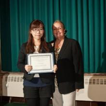Kjell R. and Rosemany J. Knudsen Dean Emerita Scholarship - Julie Bae and Dean Amy B. Hietapelto