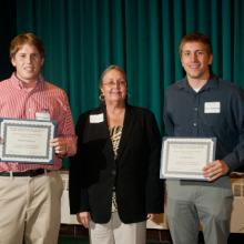 David F. McIntire Scholarships - Joseph Ellinghuysen, Dean Amy B. Hietapelto, and Zachary Konerza