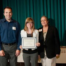 Duluth Chapter MNCPA Scholarship - Nick Peterson, Kayla Sattler, and Dean Amy B. Hietapelto