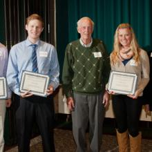 Donald and Nancy Moline Scholarships - Garrett Glaus, Ryan Gormley, Don Moline, Kelsey Vigoren, and Dean Amy B. Hietapelto