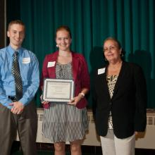 Northland Human Resource Association Scholarship - Arik Forsman- class of '09, Laura Sutliff, and Dean Amy B. Hietapelto