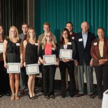 Mitchell and Elva Sill Scholarships - numerous (not in this order) : Lora Card, Dillon Fenno, Justin Grossinger, Lindsay Koplitz, Erin Mensinger, Kevin Stocke, Hahhah Tammen, Amy Terrio, and Holly Trebesch with Mitch Sill, Elva Sill, and Dean Amy B. Hieta