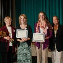 Techne R&D Systems Merit Scholarships in Business - Judith Oland, Jennifer Lindell, Jaclyn Priolo, and Dean Amy B. Hietapelto