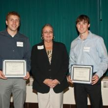Jim, Kathy, and Brent Vizanko Family Scholarships - Zachary Konerza, Dean Amy B. Hietapelto, and Tyler Nowicki
