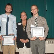 David and Roberta Vose Scholarships - Nick Peterson, Dean Amy B. Hietapelto, and Lance Zetah