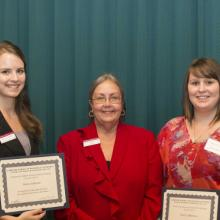 William and Susan Prout Scholarship - Krista Anderson, Dean Amy B. Hietapelto, and Emily Van Blaircom