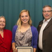 National Bank of Commerce Scholarship - Dean Amy B. Hietapelto, Riley Allen, and Steve Burgess