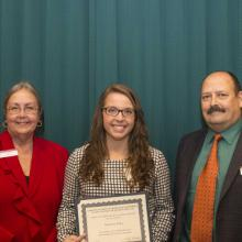 Department of Accounting Scholarship - Dean Amy B. Hietapelto, Makenzie Korby, and Randy Skalberg, Accounting Department Head