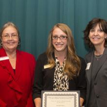 Debora S. Almirall Scholarship - Dean Amy B. Hietapelto, Kaitlin Nicko,and Debora Almirall