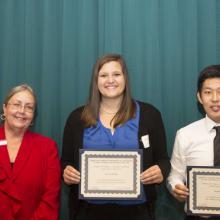 Haakon L. and Carol J. Andreasen Scholarship - Dean Amy B. Hietapelto, Alyssa Gazda, and Junoh Jung