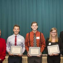 Allan L. Apter Scholarship - Dean Amy B. Hietapelto, Nicholas Cosgriff, Jacob Erickson, Abby Sylvester, and Aaron Wilhelmi