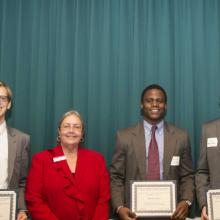 Allan L. Apter Financial Markets Program Scholarship - Colt Wolfram, Dean Amy B. Hietapelto, Akporefe Agbamu, and Matthew Murphy