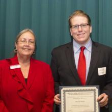 Allan L. Apter LSBE Financial Planning Program Scholarship - Dean Amy B. Hietapelto, Mitchell Smyth, and Jordan Elling (not pictured)