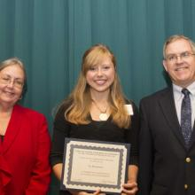 Beta Gamma Sigma (BSG) Scholarship - Dean Amy B. Hietapelto, Joy Rasmussen, and  Geof Bell, BGS Chapter President