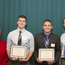 CliftonLarsonAllen Scholarship - Dean Amy B. Hietapelto, Jerad Borgschatz, Michael Hahn, and David Olson