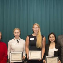 Construction Financial Management Association Scholarship - Dean Amy B. Hietapelto, Sofia Carlstrom, Jennifer Hitchcock, Qing Lin, and Mike Michelsen