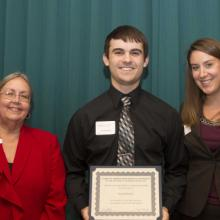 Copeland Buhl & Company Scholarship - Dean Amy B. Hietapelto, David Huntley, and Jenny McCabbe