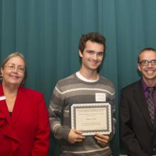 Department of Economics Scholarship - Dean Amy B. Hietapelto, Matthew Arthur, and Chris McIntosh, Economics Department Head