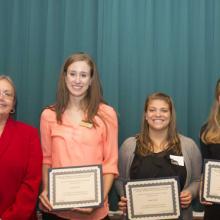 Drazkowski Family Scholarship - Dean Amy B. Hietapelto, Emily Crea, Katie Ozan, and Joy Rasmussen